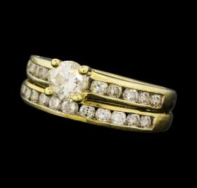 1.35 ctw Diamond Ring Soldered To Wedding Band - 14KT