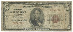 1929 $5 First National Bank and Trust Company Note of