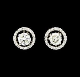 0.75 ctw Diamond Studs and Earring Jackets - 14KT White