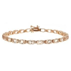 11.71 ctw Morganite and Diamond Bracelet - 14KT Rose