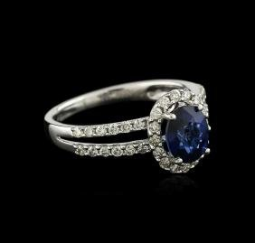 18KT White Gold 1.42 ctw Sapphire and Diamond Ring