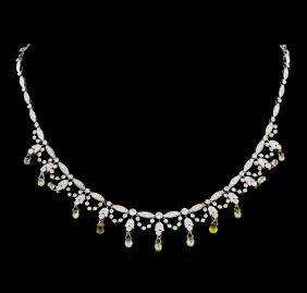 4.83 ctw Diamond and Yellow Sapphire Necklace - 18KT