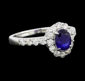 1.08 ctw Sapphire and Diamond Ring - 14KT White Gold