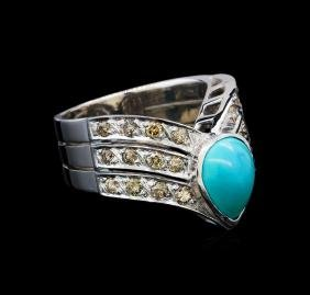 2.00 ctw Turquoise and Diamond V-Shape Ring - 18KT