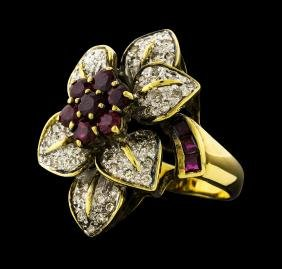 1.60 ctw Ruby and Diamond Ring - 18KT Yellow Gold