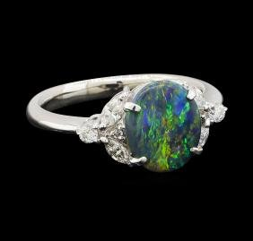 1.28 ctw Black Opal and Diamond Ring - Platinum