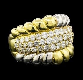 Diamond Ring - 18KT Yellow Gold and Platinum