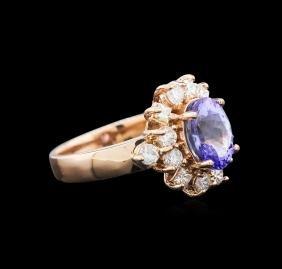 2.08 ctw Tanzanite and Diamond Ring - 14KT Rose Gold