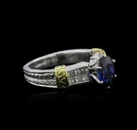 Platinum 1.84 ctw Sapphire and Diamond Ring