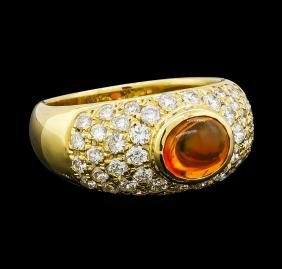 Mexican Opal and Diamond Ring - 18KT Yellow Gold
