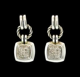 David Yurman Dangling Diamond Earrings - Sterling