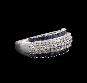 14KT White Gold 1.15 ctw Blue Sapphire and Diamond Ring