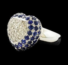 5.20 ctw Sapphire and Diamond Ring - 18KT White Gold