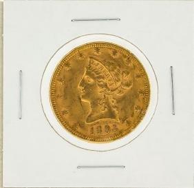 1893 $10 AU Liberty Head Eagle Gold Coin