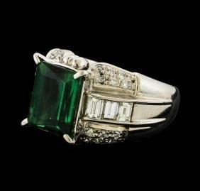 3.81 ctw Tourmaline and Diamond Ring - Platinum