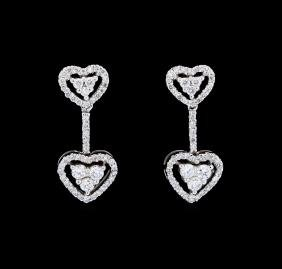 0.66 ctw Diamond Earrings - 18KT White Gold