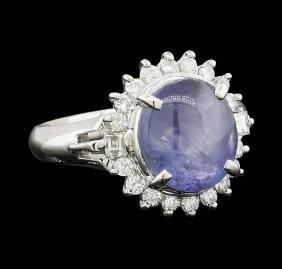 5.33 ctw Star Sapphire and Diamond Ring - Platinum