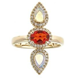 0.52 ctw Fire Opal, Opal, and Diamond Ring - 14KT