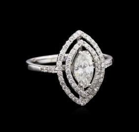 EGL INT Certified 0.98 ctw Diamond Ring - 18KT White