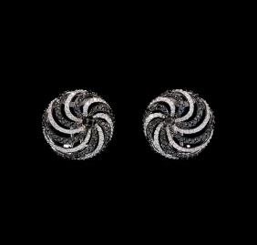 1.79 ctw Black and White Diamond Earrings - 18KT White