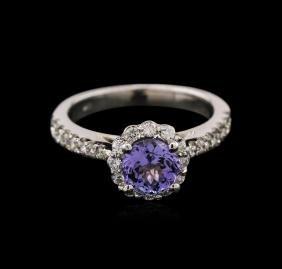 1.13 ctw Tanzanite and Diamond Ring - 14KT White Gold