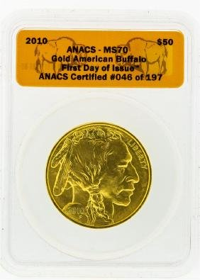 2010 ANACS MS70 First Day $50 American Buffalo 1 Oz.
