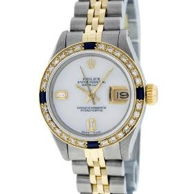 Rolex Two-tone Mop Diamond And Sapphire Datejust Ladies