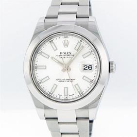 Rolex Stainless Steel White Index Datejust Men's Watch