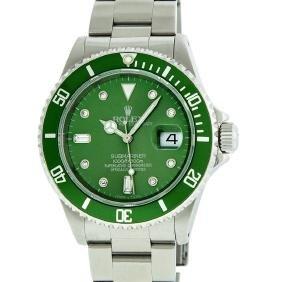 Mens Rolex Stainless Steel Green Diamond 8 + 2 Baguette