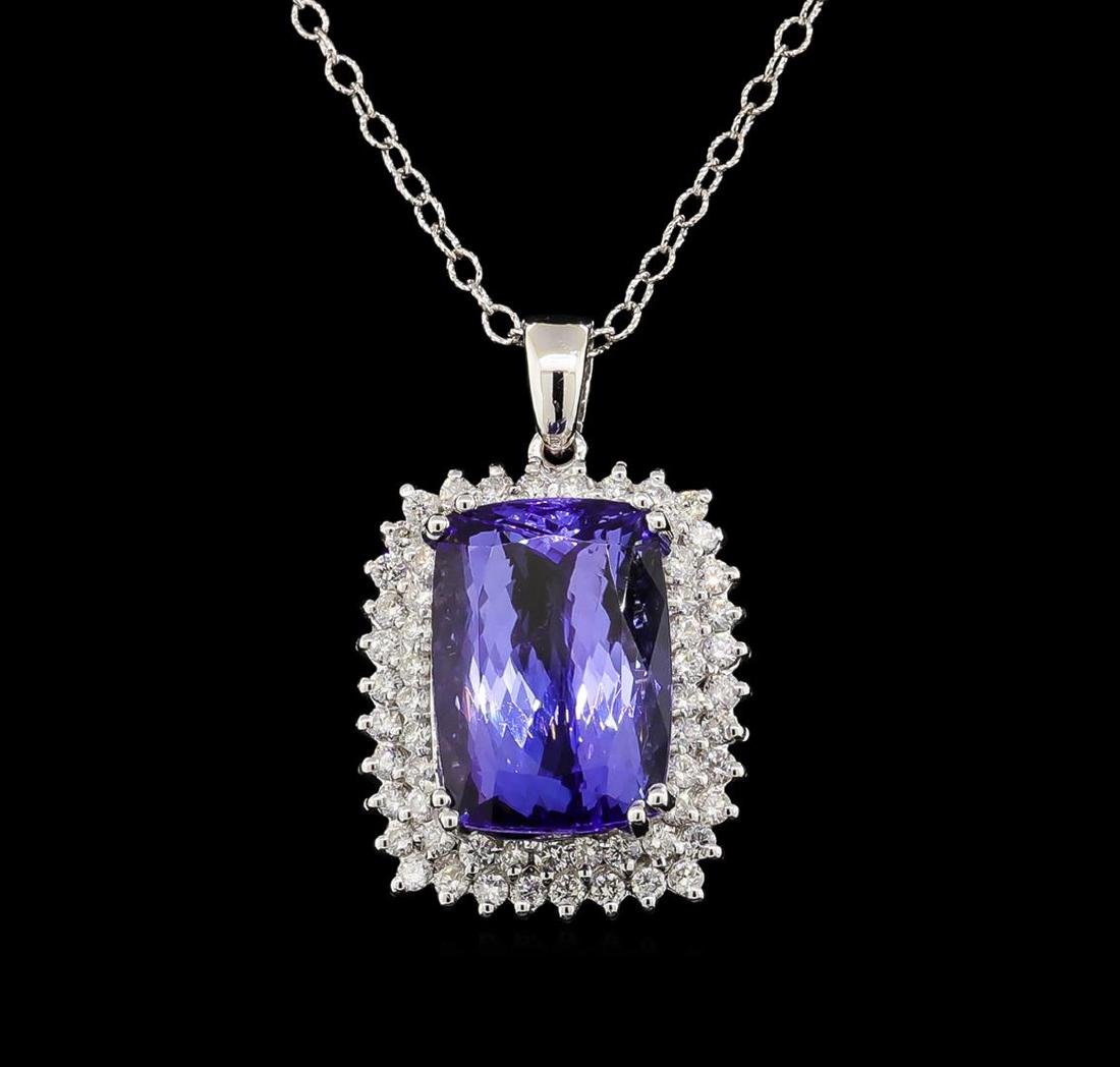 GIA Cert 20.21 ctw Tanzanite and Diamond Pendant With