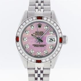Rolex Stainless Steel Pink Mop Diamond And Ruby