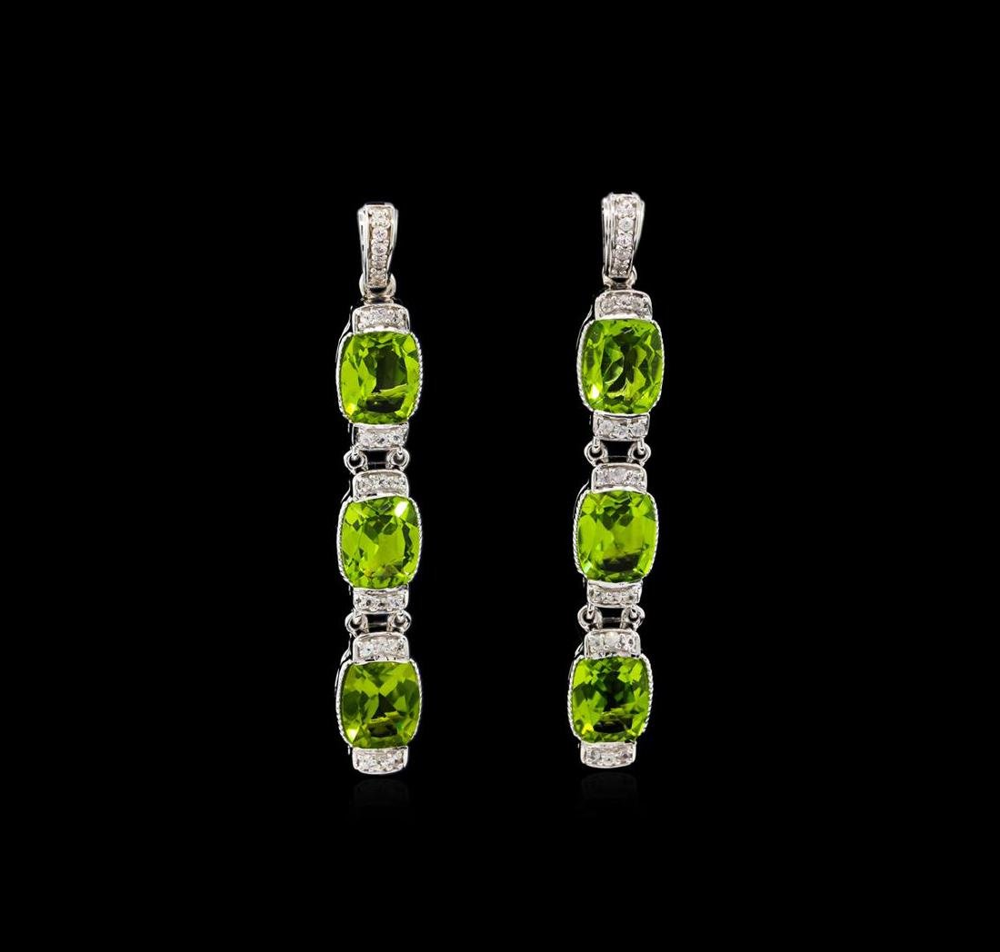 Crayola 15.60 ctw Peridot and White Sapphire Earrings -