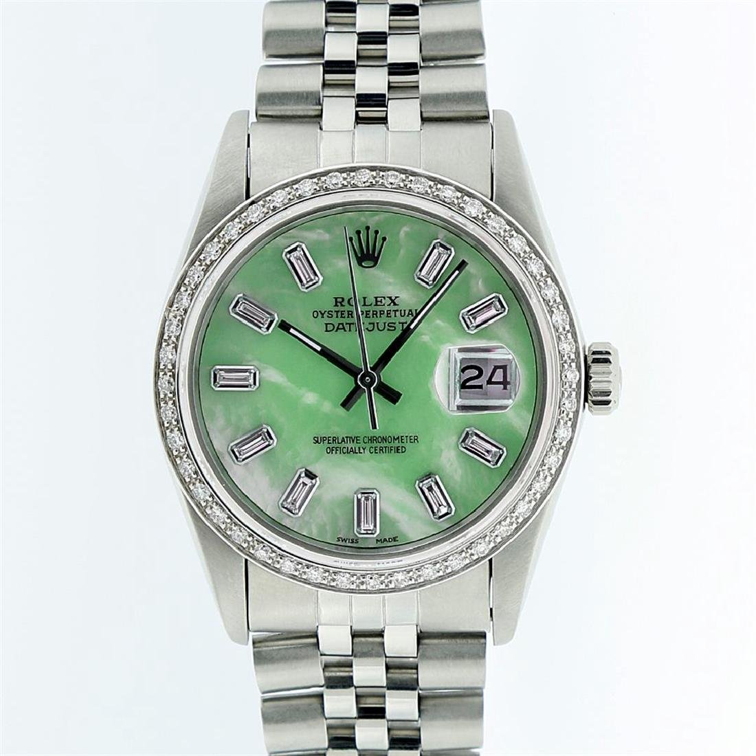 Rolex Stainless Steel Green MOP Diamond DateJust Men's