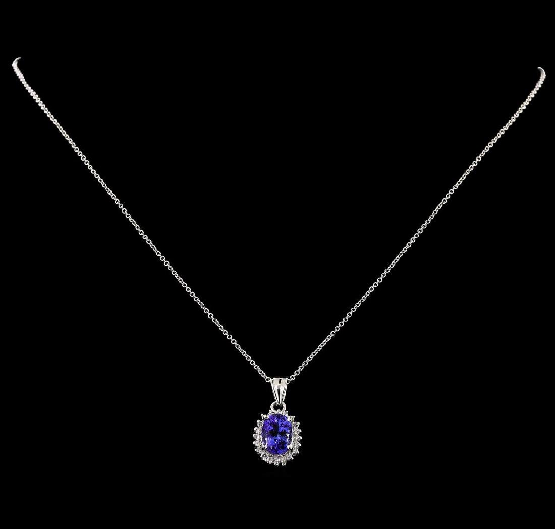 3.15 ctw Tanzanite and Diamond Pendant With Chain -