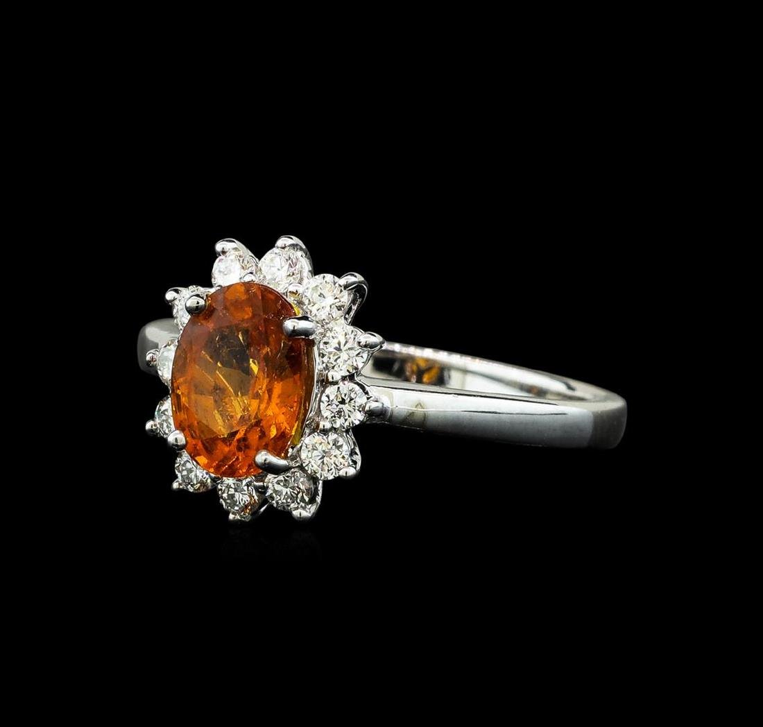 1.60 ctw Mandarin Spessartite and Diamond Ring - 14KT