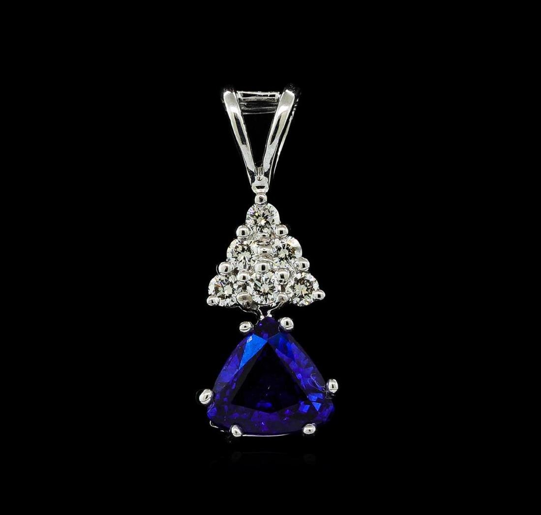 1.01 ctw Blue Sapphire and Diamond Pendant - 14KT White