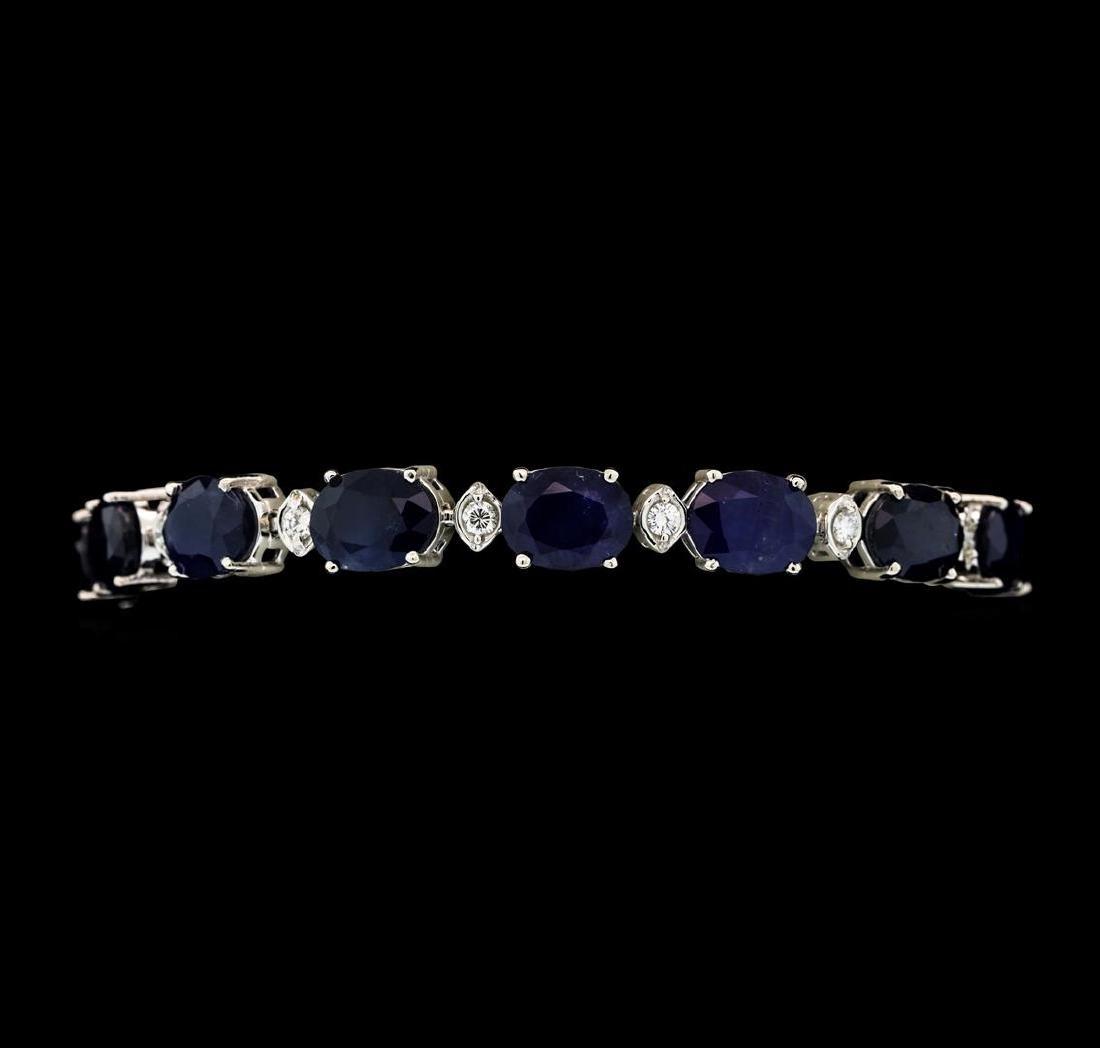 33.51 ctw Sapphire and Diamond Bracelet - 14KT White