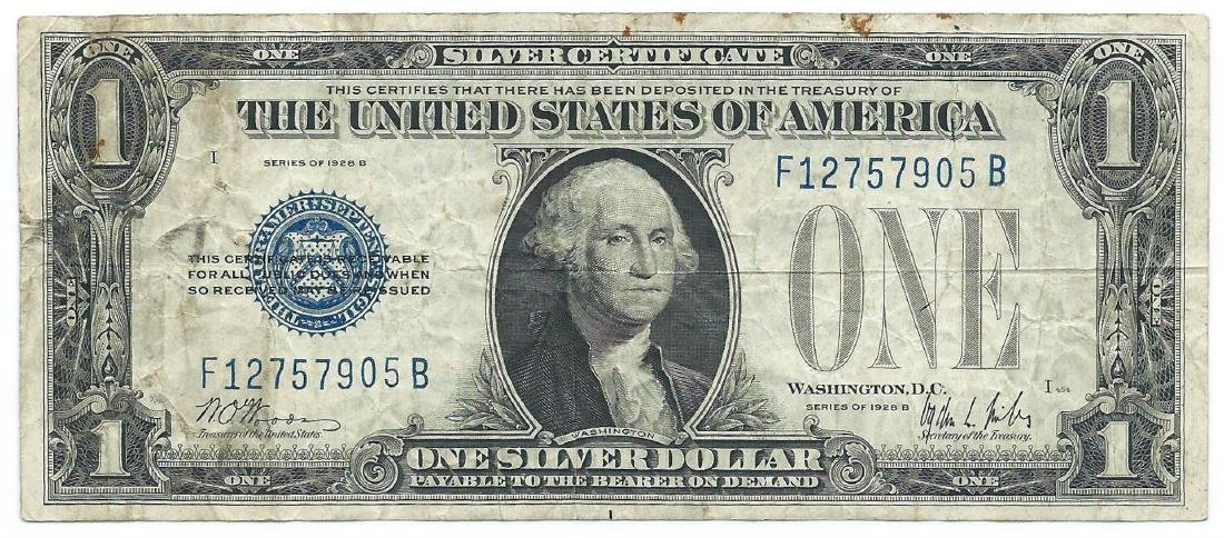 1928 $1 Silver Funny Back Cerificate