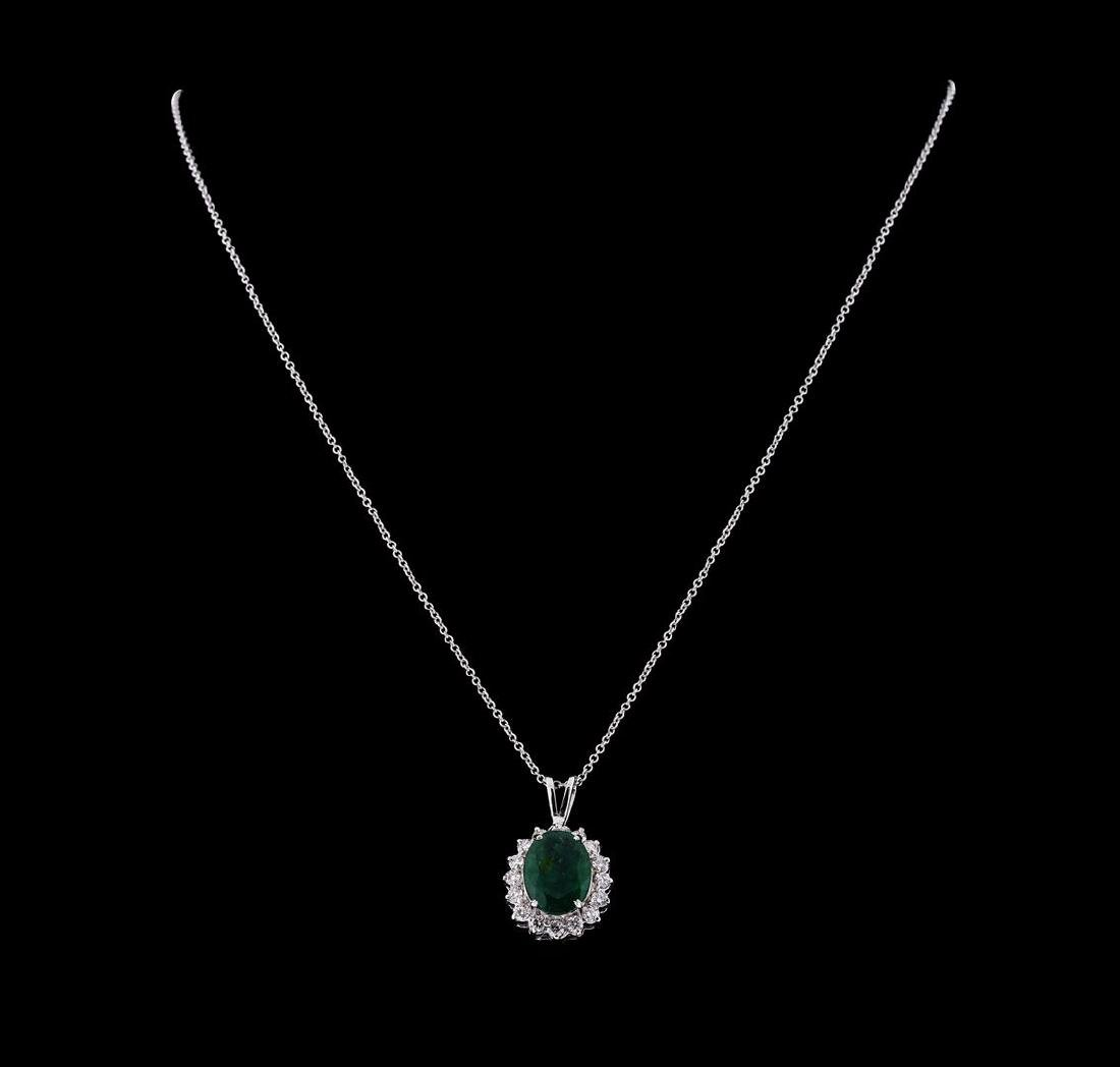 3.40 ctw Emerald and Diamond Pendant With Chain - 14KT