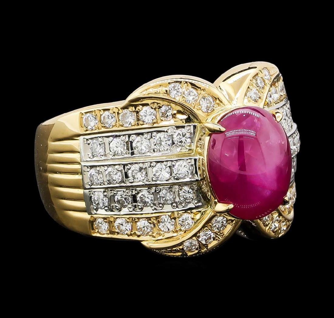 3.70 ctw Star Ruby and Diamond Ring - 18KT Yellow Gold