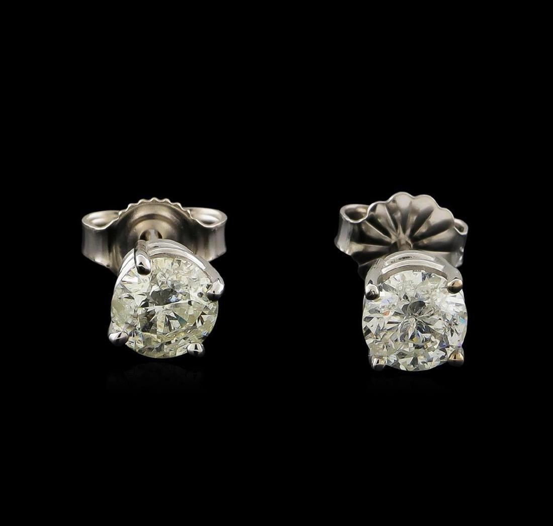 1.08 ctw Diamond Solitaire Earrings - 14KT White Gold
