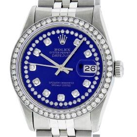 Rolex Mens Stainless Steel Royal Blue String Diamond