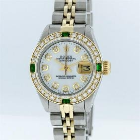 Rolex Two-tone Mother Of Pearl Diamond And Emerald