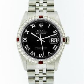 Rolex Stainless Steel Black Roman Diamond And Ruby