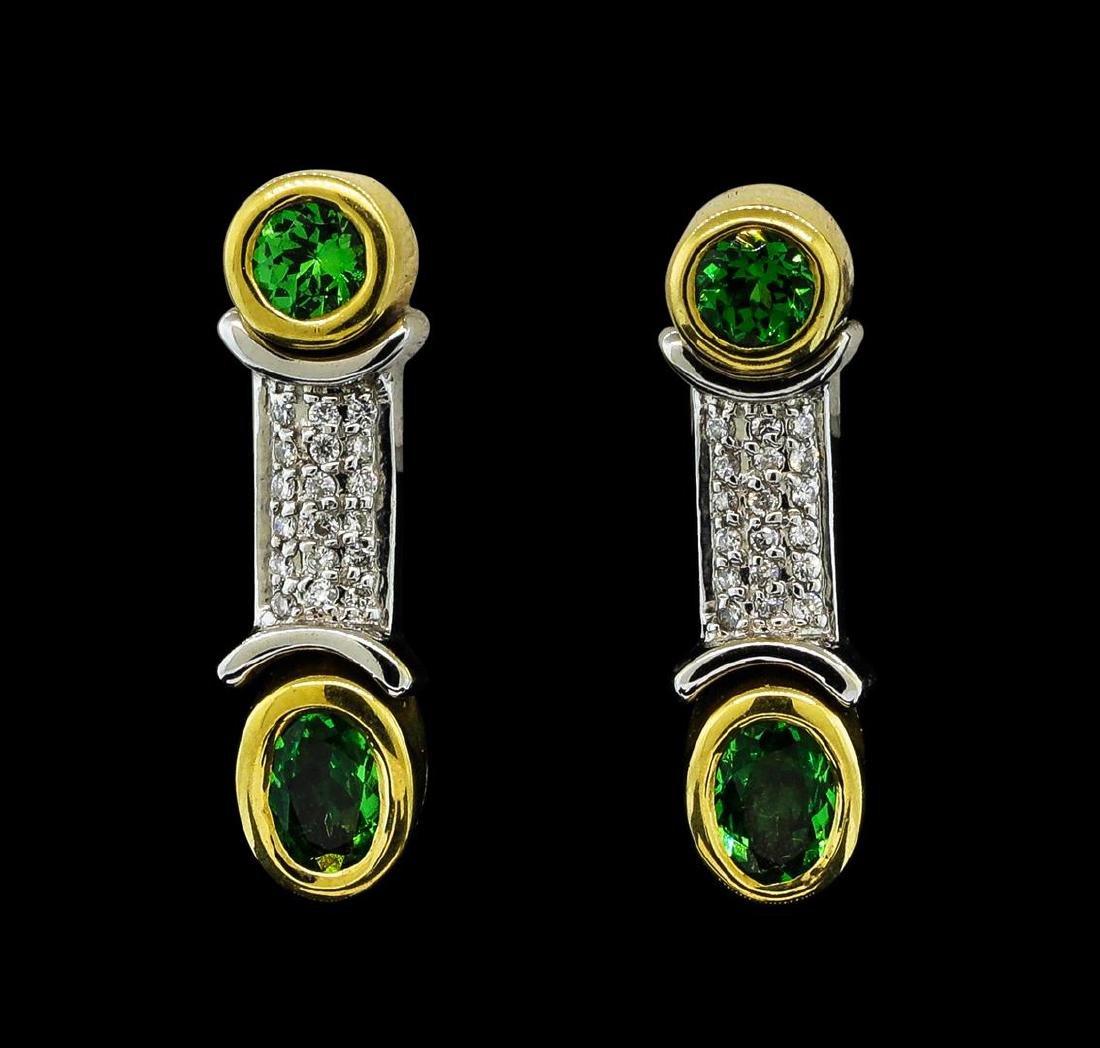 1.34 ctw Tsavorite and Diamond Earrings - 18KT Yellow
