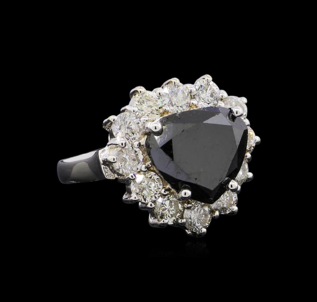 7.97 ctw Black Diamond Ring - 14KT White Gold
