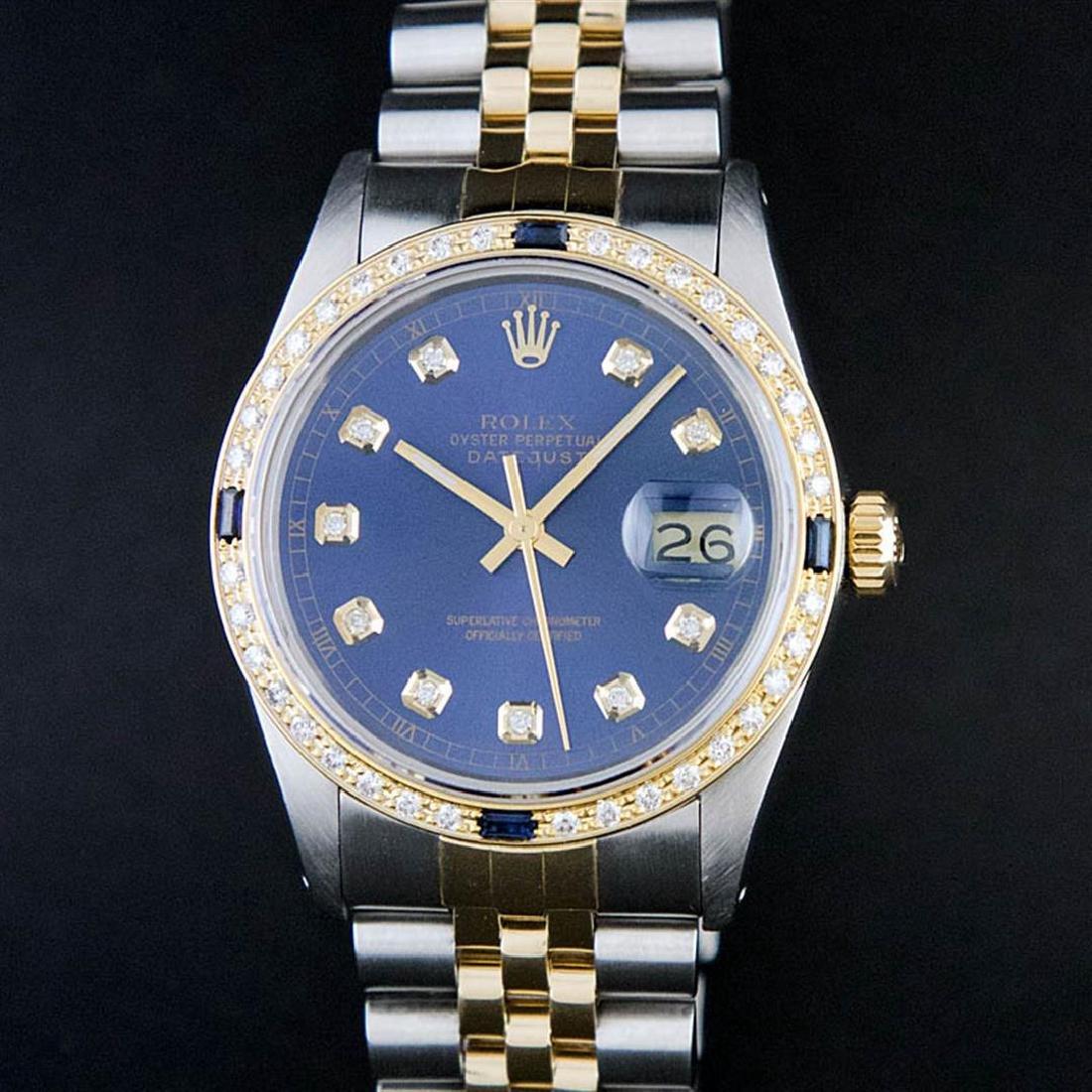 Rolex Two-Tone Diamond and Sapphire DateJust Men's