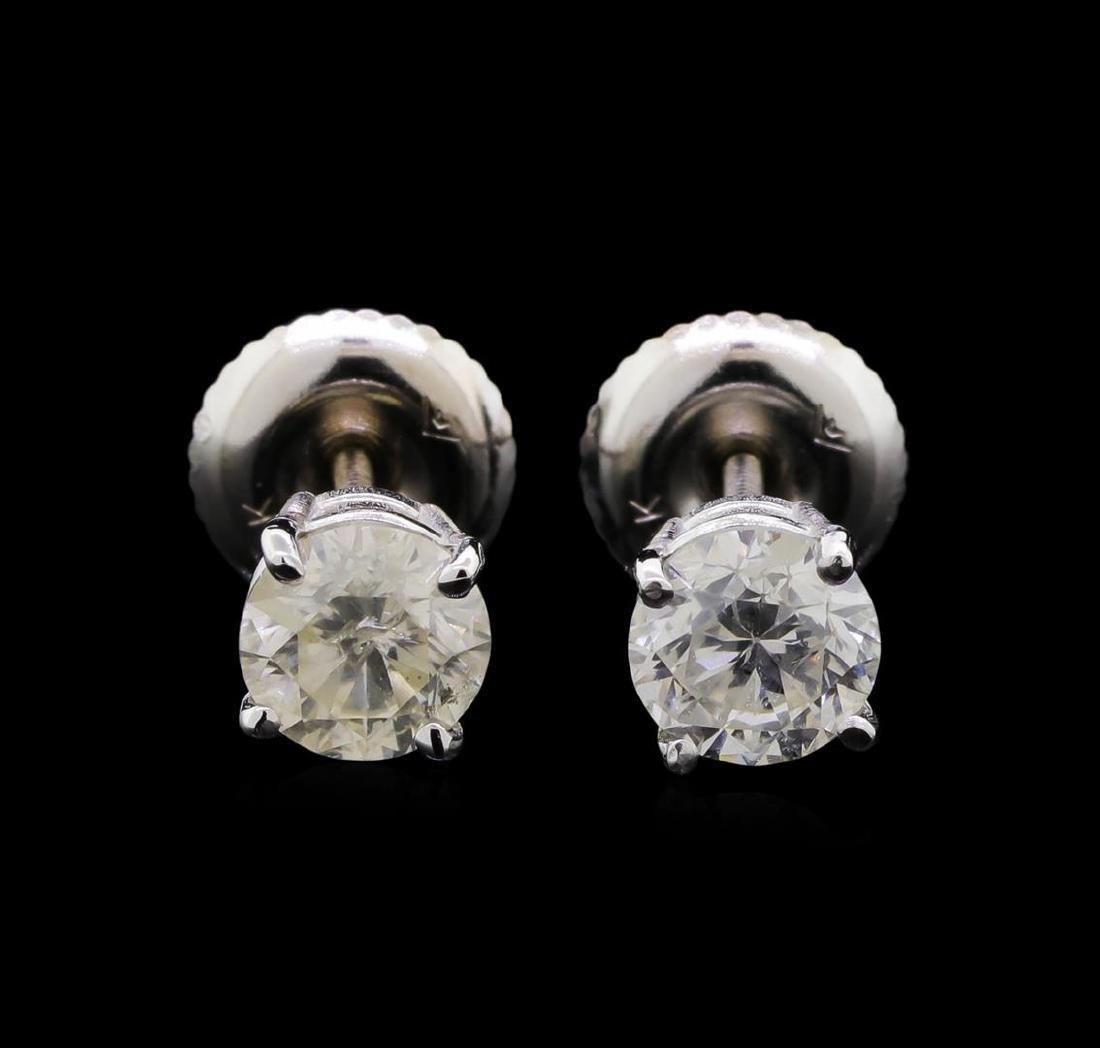 0.97 ctw Diamond Earrings - 14KT Yellow Gold