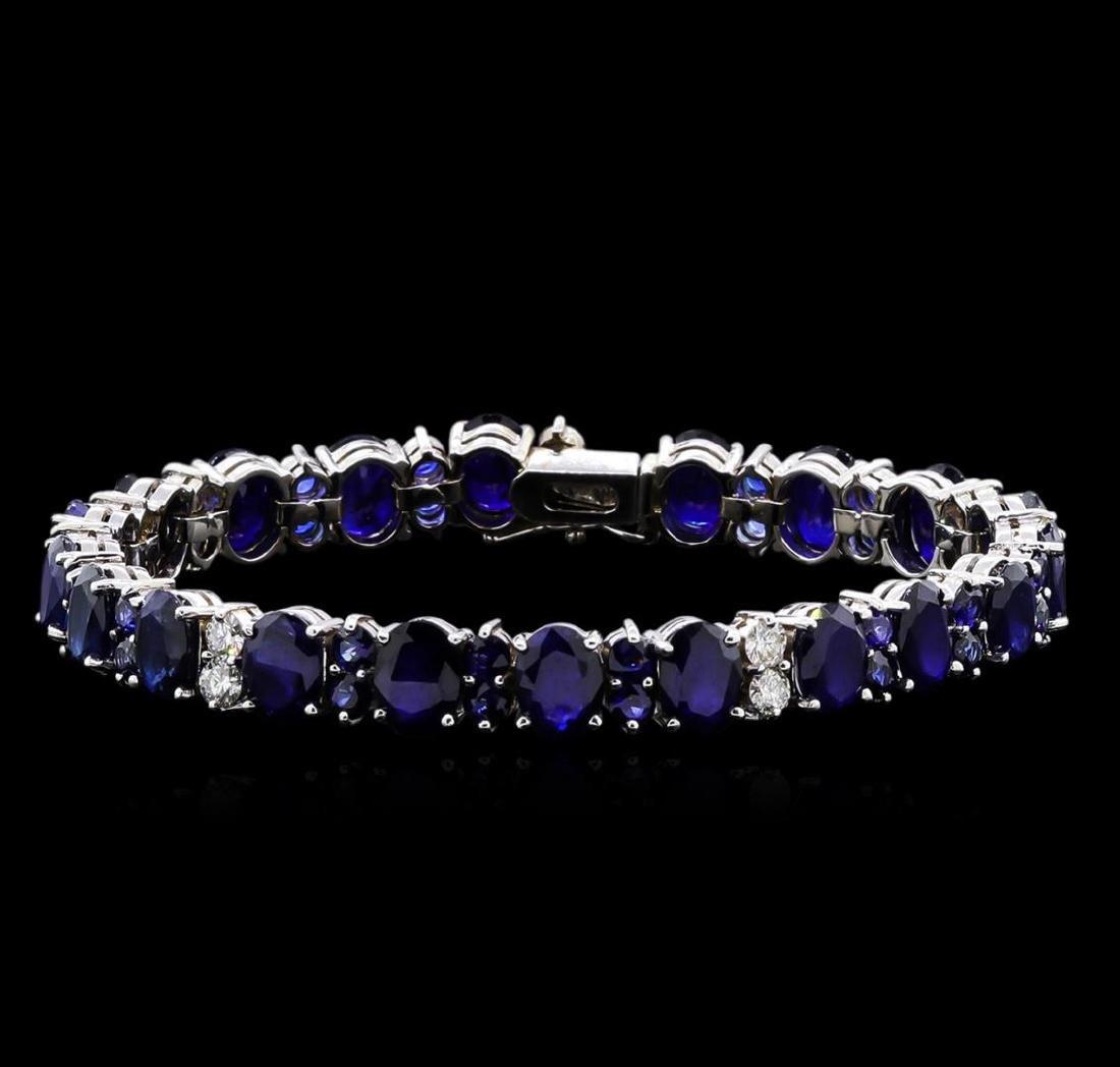 31.89 ctw Blue Sapphire and Diamond Bracelet - 14KT