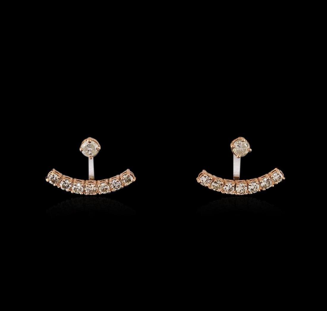 1.10 ctw Diamond Earrings - 14KT Rose Gold